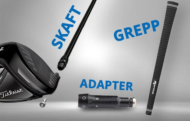 Skaft med adapter till golf drivers